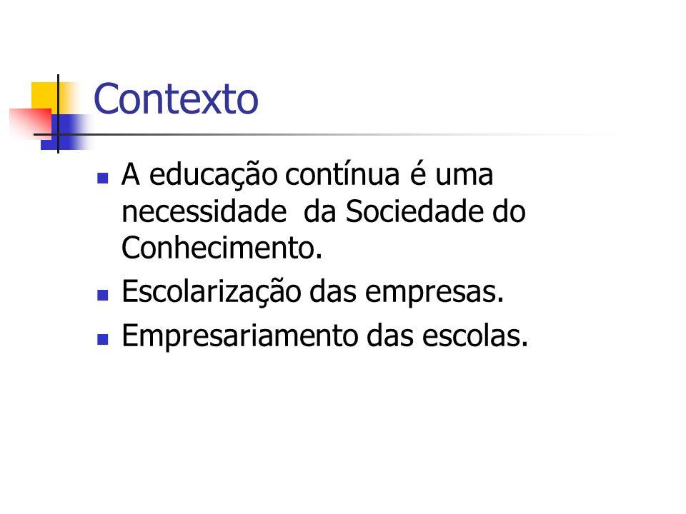 ContextoA educação contínua é uma necessidade da Sociedade do Conhecimento. Escolarização das empresas.