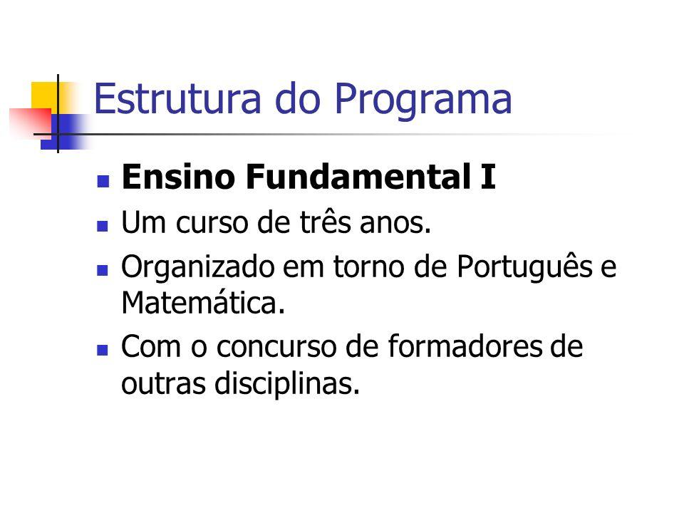 Estrutura do Programa Ensino Fundamental I Um curso de três anos.