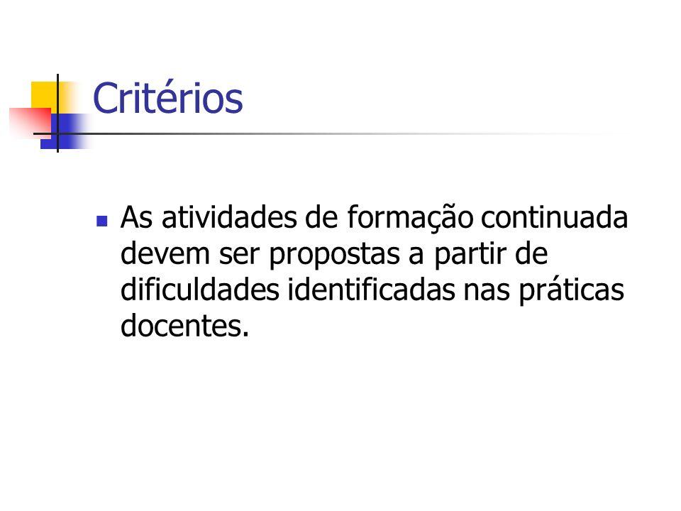 CritériosAs atividades de formação continuada devem ser propostas a partir de dificuldades identificadas nas práticas docentes.