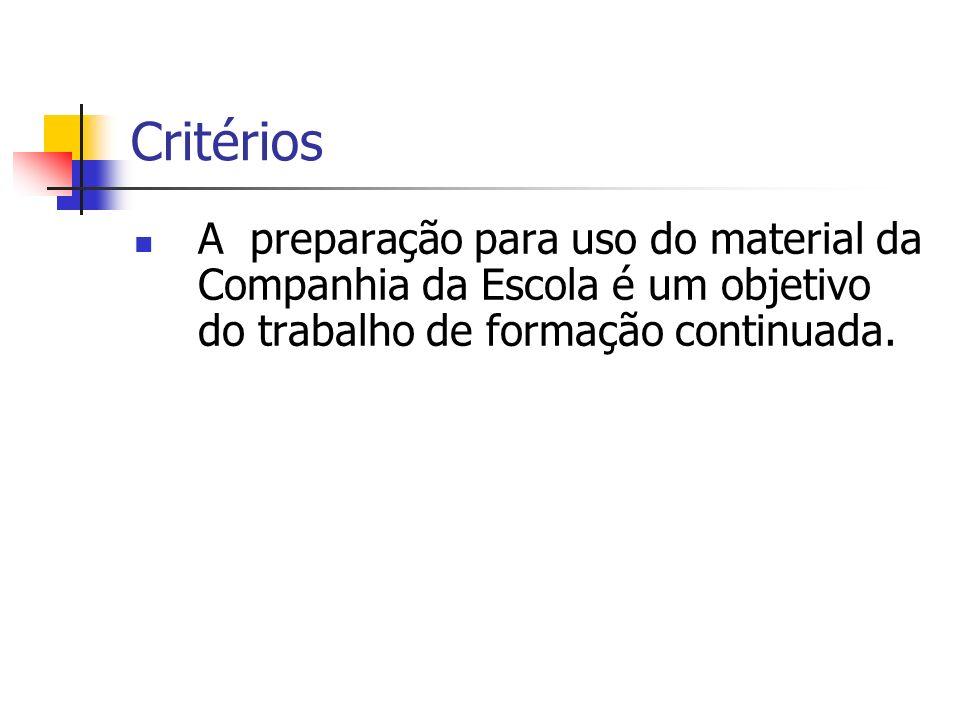 CritériosA preparação para uso do material da Companhia da Escola é um objetivo do trabalho de formação continuada.