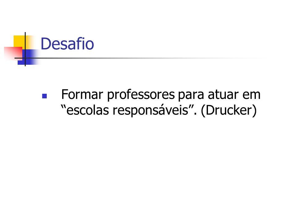 Desafio Formar professores para atuar em escolas responsáveis . (Drucker)