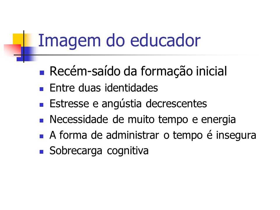 Imagem do educador Recém-saído da formação inicial
