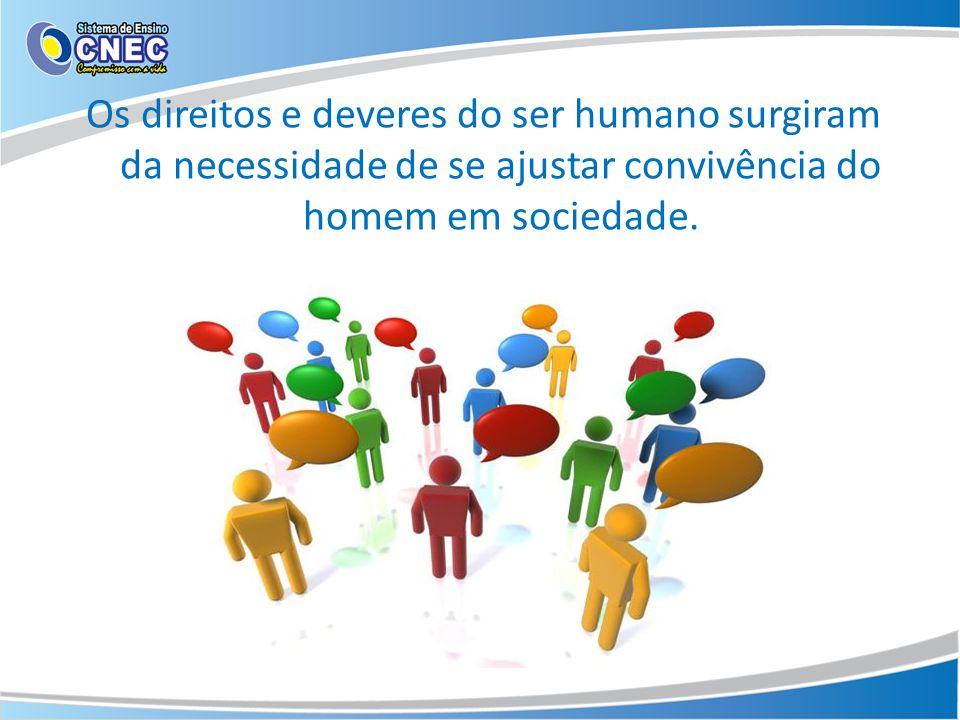 Os direitos e deveres do ser humano surgiram da necessidade de se ajustar convivência do homem em sociedade.