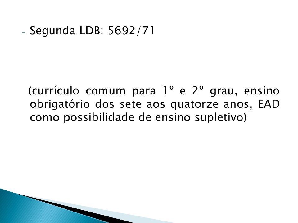 Segunda LDB: 5692/71 (currículo comum para 1º e 2º grau, ensino obrigatório dos sete aos quatorze anos, EAD como possibilidade de ensino supletivo)