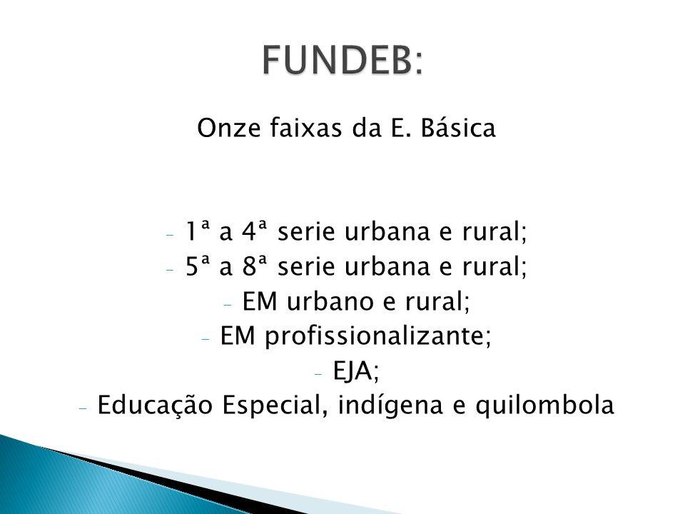 FUNDEB: Onze faixas da E. Básica 1ª a 4ª serie urbana e rural;