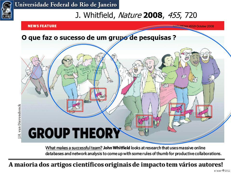 J. Whitfield, Nature 2008, 455, 720 O que faz o sucesso de um grupo de pesquisas Nature 2008, 455, 720.