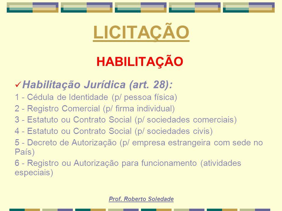 LICITAÇÃO HABILITAÇÃO Habilitação Jurídica (art. 28):