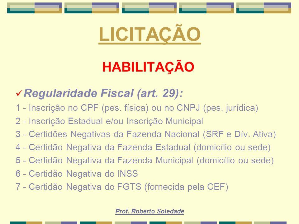 LICITAÇÃO HABILITAÇÃO Regularidade Fiscal (art. 29):