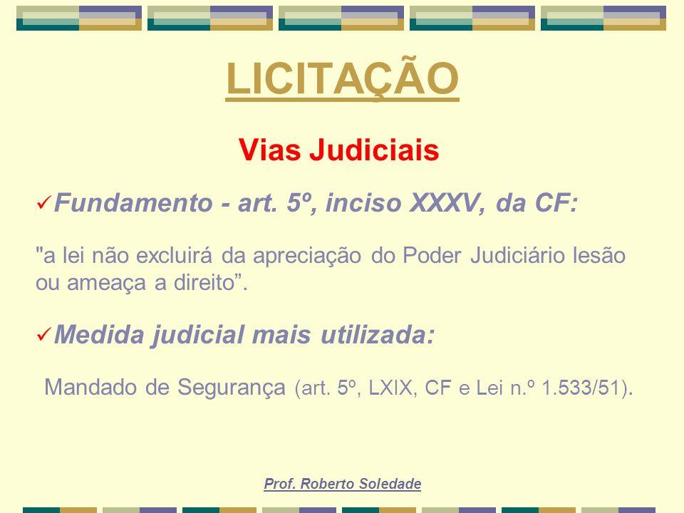 Mandado de Segurança (art. 5º, LXIX, CF e Lei n.º 1.533/51).