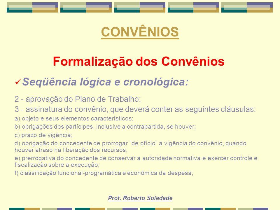 Formalização dos Convênios