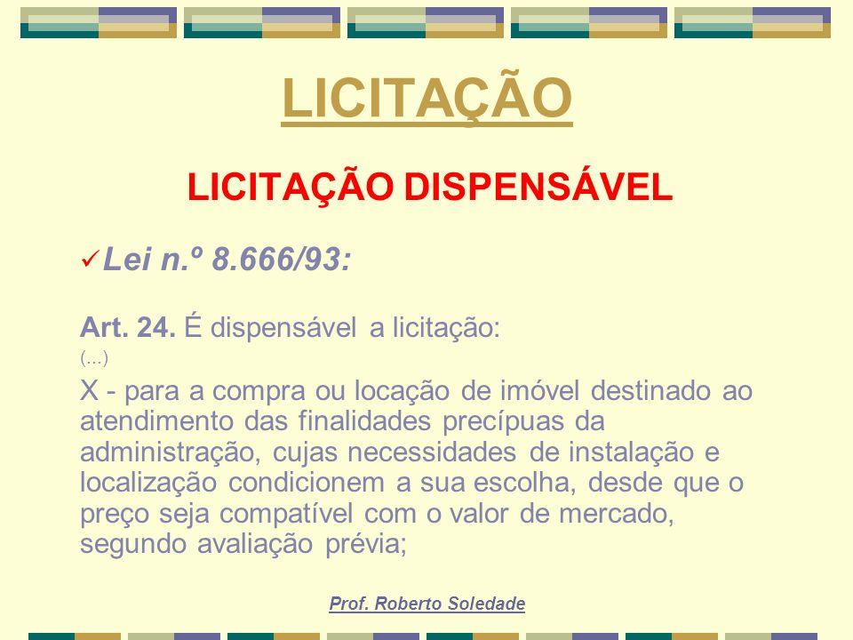 LICITAÇÃO DISPENSÁVEL