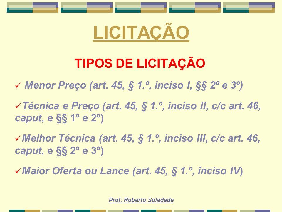 LICITAÇÃO TIPOS DE LICITAÇÃO