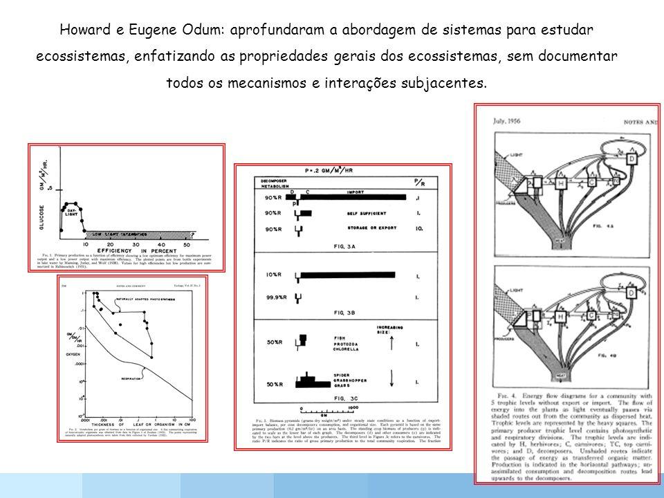 Howard e Eugene Odum: aprofundaram a abordagem de sistemas para estudar ecossistemas, enfatizando as propriedades gerais dos ecossistemas, sem documentar todos os mecanismos e interações subjacentes.