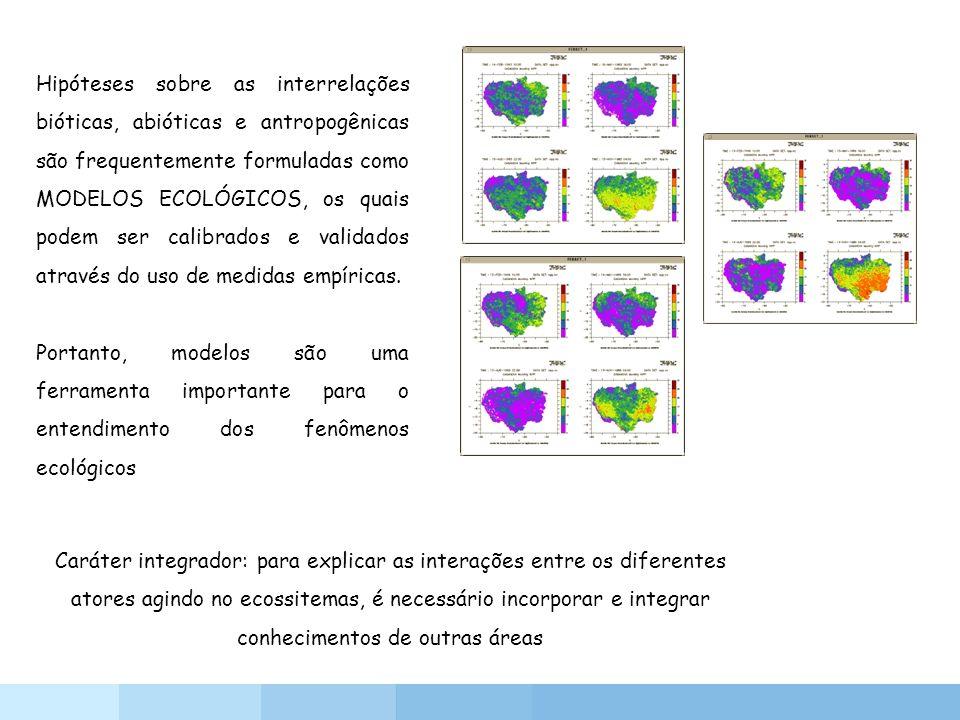 Hipóteses sobre as interrelações bióticas, abióticas e antropogênicas são frequentemente formuladas como MODELOS ECOLÓGICOS, os quais podem ser calibrados e validados através do uso de medidas empíricas.