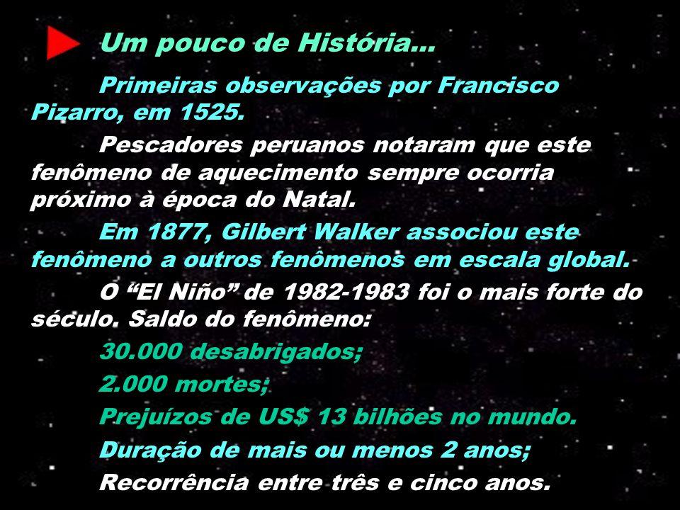 Um pouco de História... Primeiras observações por Francisco Pizarro, em 1525.
