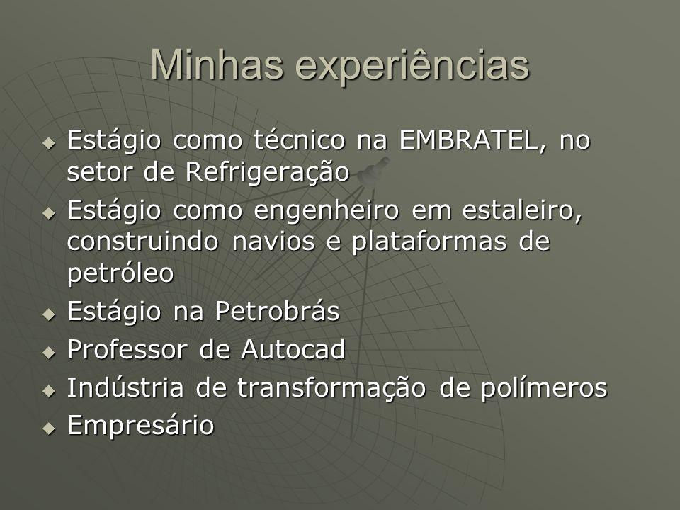Minhas experiências Estágio como técnico na EMBRATEL, no setor de Refrigeração.