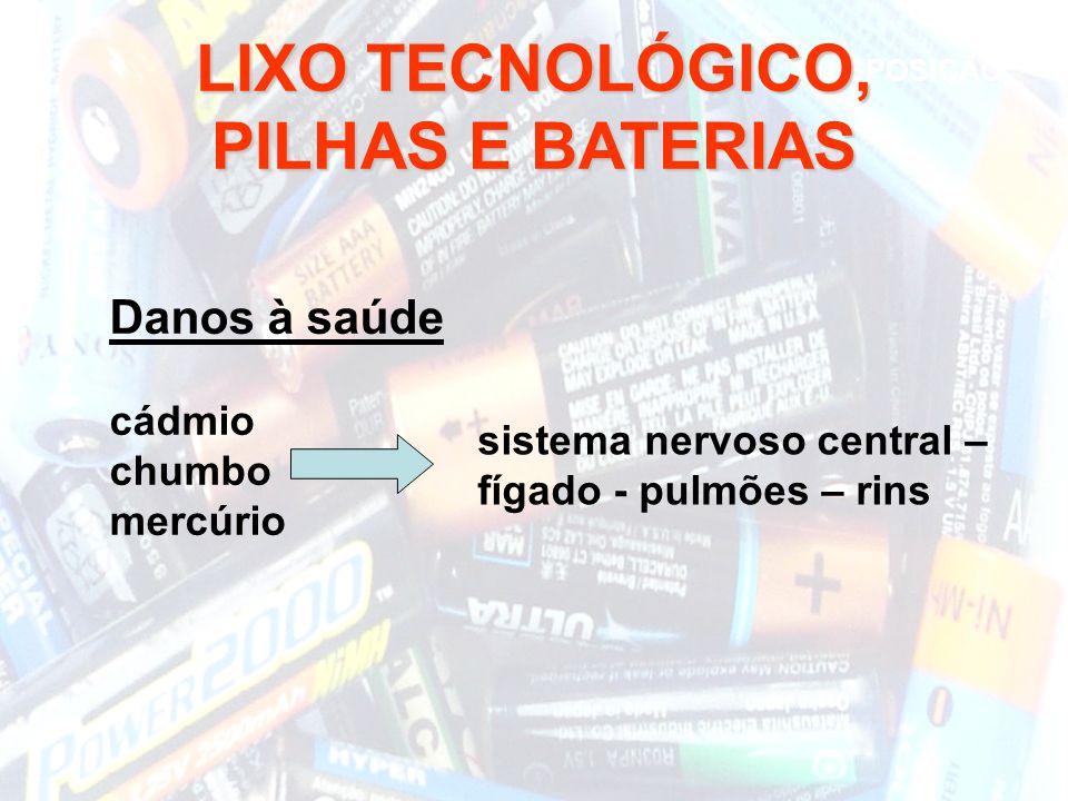 LIXO TECNOLÓGICO, PILHAS E BATERIAS Danos à saúde cádmio chumbo