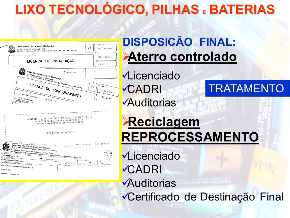 LIXO TECNOLÓGICO, PILHAS E BATERIAS