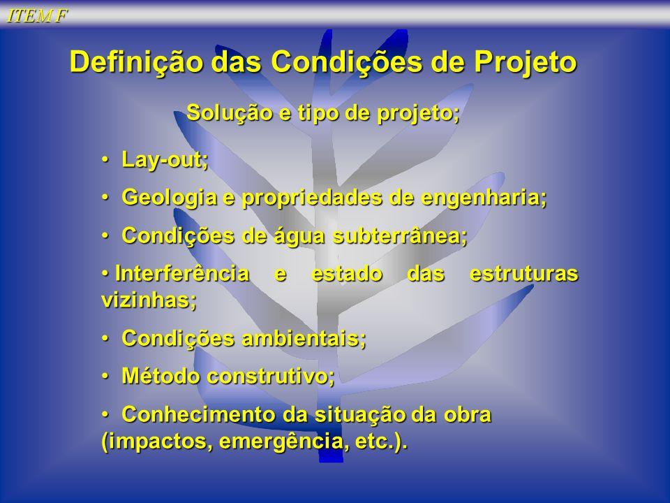 Definição das Condições de Projeto Solução e tipo de projeto;