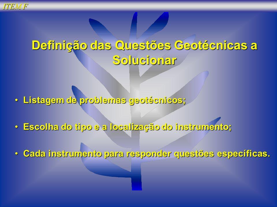 Definição das Questões Geotécnicas a Solucionar