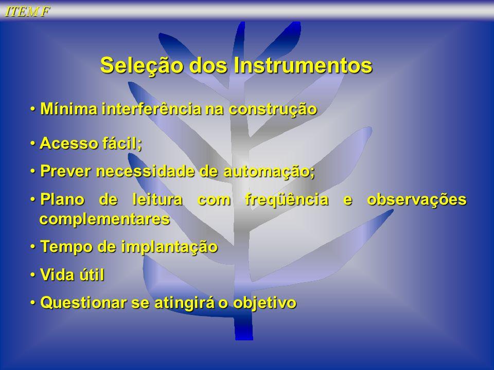 Seleção dos Instrumentos