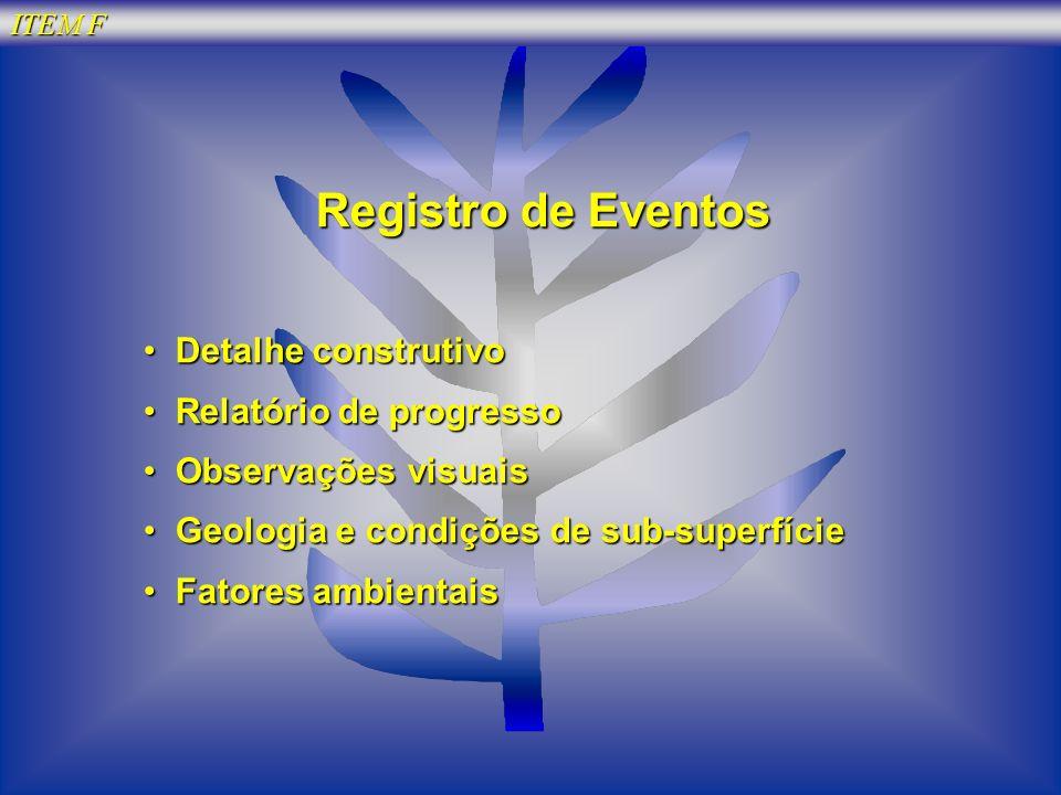 Registro de Eventos Detalhe construtivo Relatório de progresso