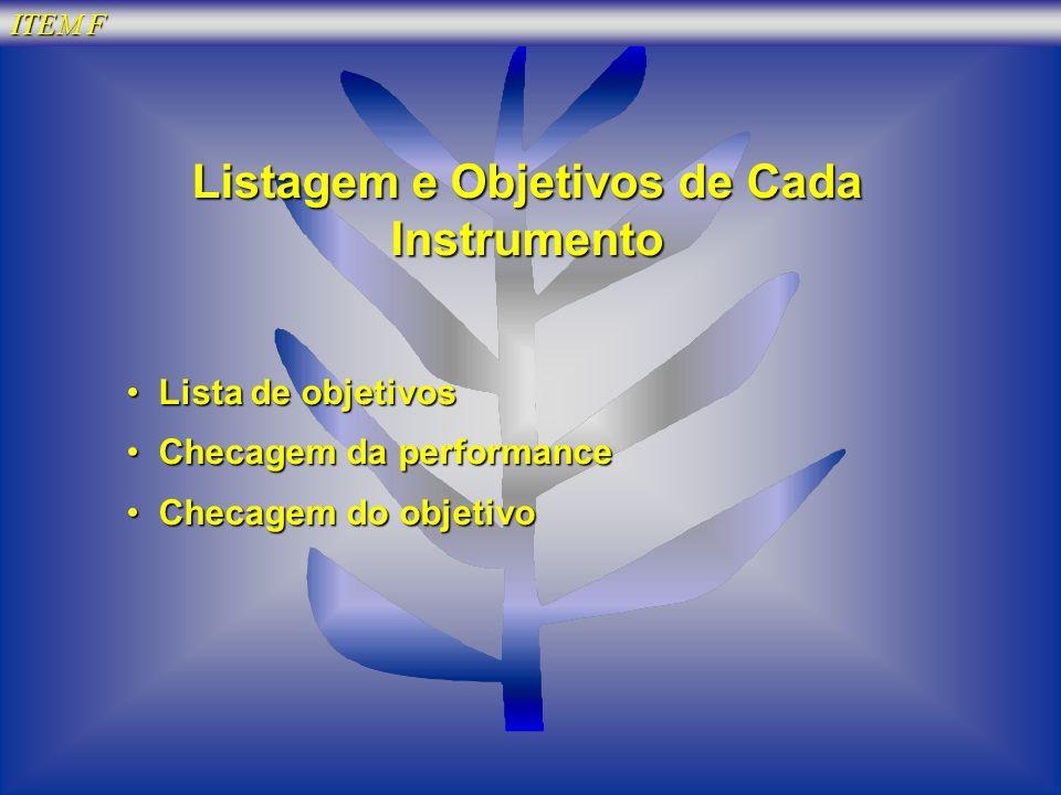 Listagem e Objetivos de Cada Instrumento
