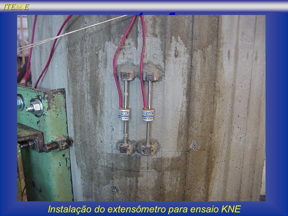 Instalação do extensômetro para ensaio KNE