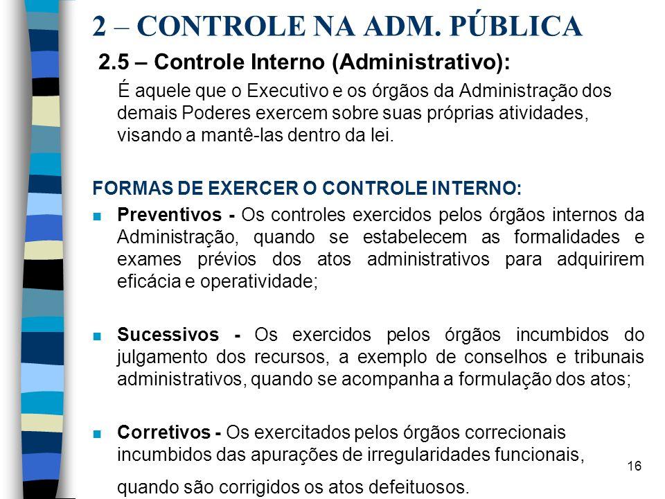 2 – CONTROLE NA ADM. PÚBLICA