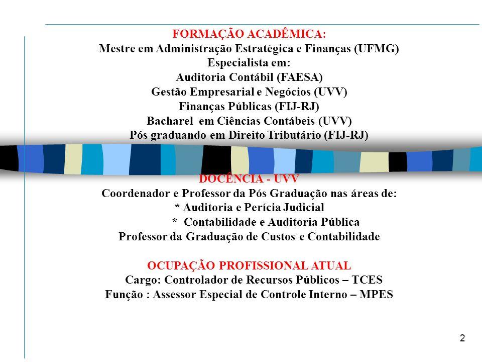 Mestre em Administração Estratégica e Finanças (UFMG) Especialista em: