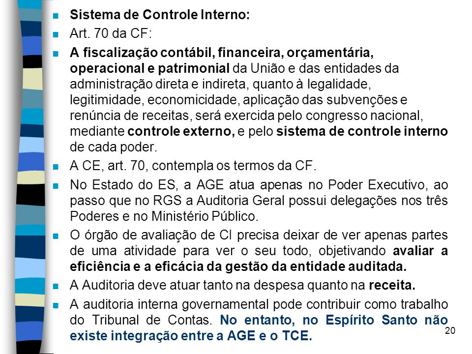 Sistema de Controle Interno: