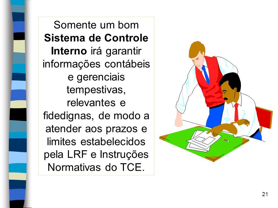 Somente um bom Sistema de Controle Interno irá garantir informações contábeis e gerenciais tempestivas, relevantes e fidedignas, de modo a atender aos prazos e limites estabelecidos pela LRF e Instruções Normativas do TCE.