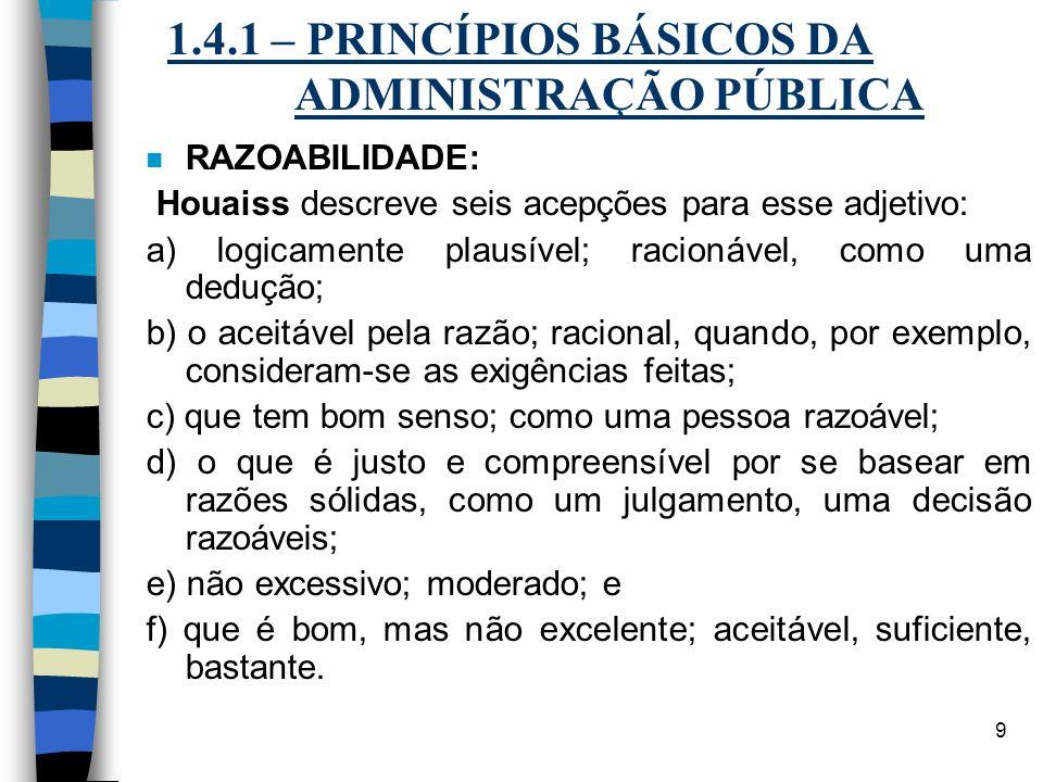1.4.1 – PRINCÍPIOS BÁSICOS DA ADMINISTRAÇÃO PÚBLICA