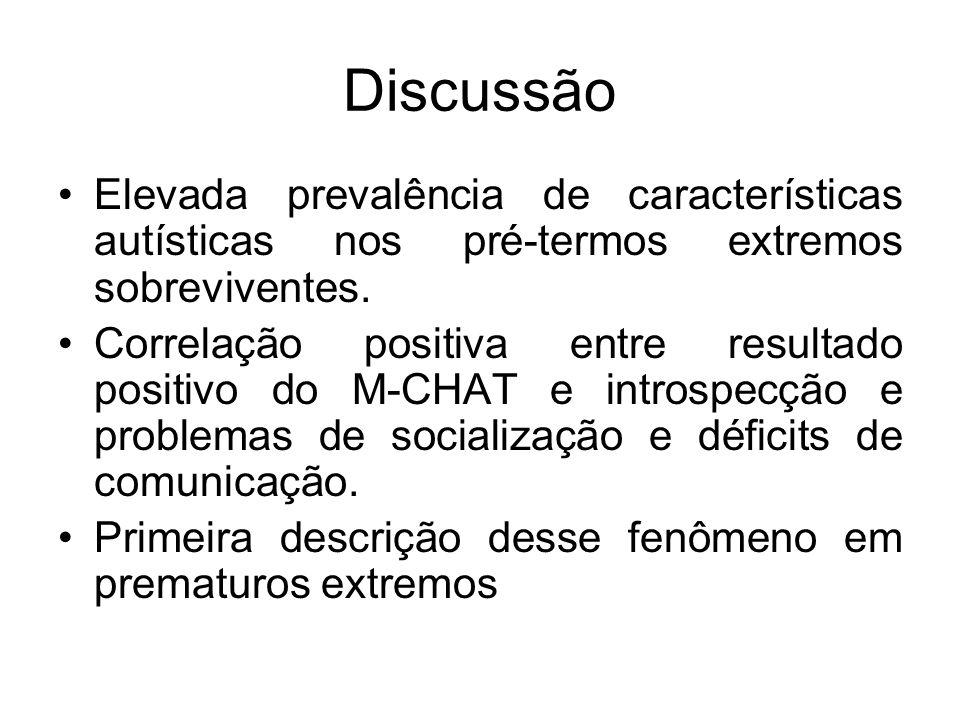 DiscussãoElevada prevalência de características autísticas nos pré-termos extremos sobreviventes.