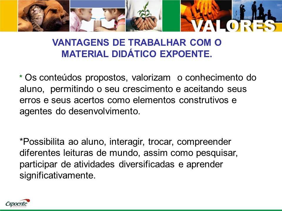 VANTAGENS DE TRABALHAR COM O MATERIAL DIDÁTICO EXPOENTE.