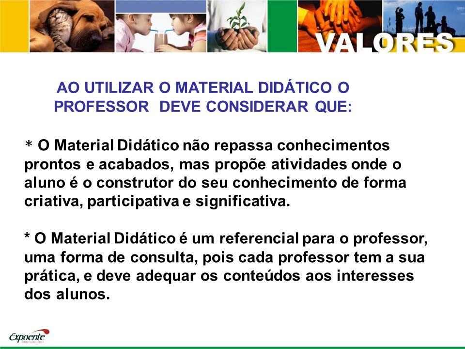 AO UTILIZAR O MATERIAL DIDÁTICO O PROFESSOR DEVE CONSIDERAR QUE: