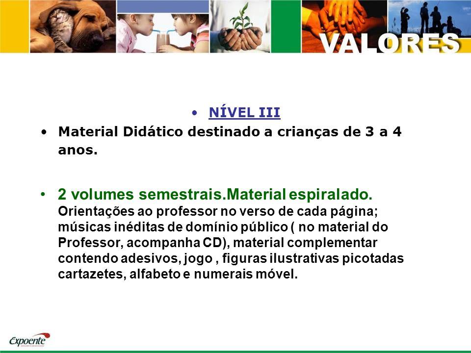 NÍVEL III Material Didático destinado a crianças de 3 a 4 anos.