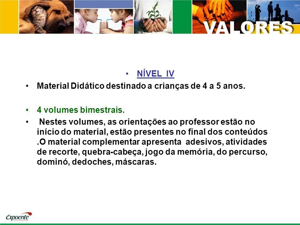 NÍVEL IV Material Didático destinado a crianças de 4 a 5 anos. 4 volumes bimestrais.