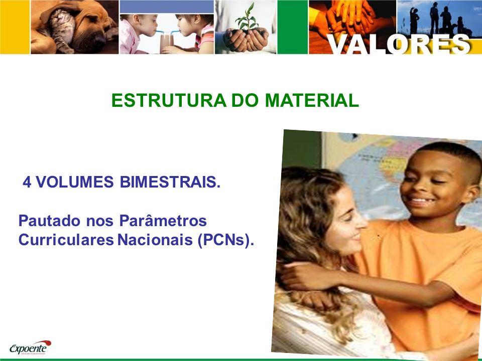 ESTRUTURA DO MATERIAL 4 VOLUMES BIMESTRAIS. Pautado nos Parâmetros