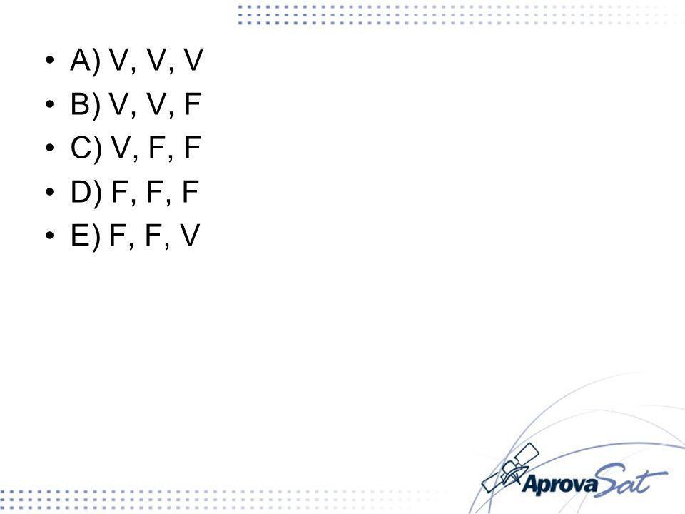 A) V, V, V B) V, V, F C) V, F, F D) F, F, F E) F, F, V