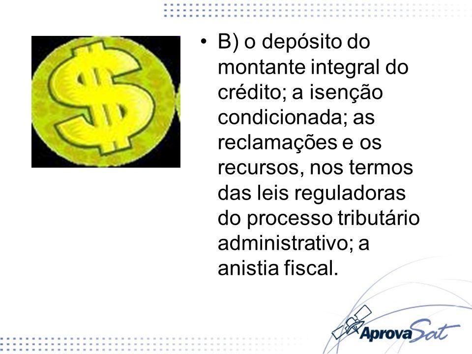 B) o depósito do montante integral do crédito; a isenção condicionada; as reclamações e os recursos, nos termos das leis reguladoras do processo tributário administrativo; a anistia fiscal.