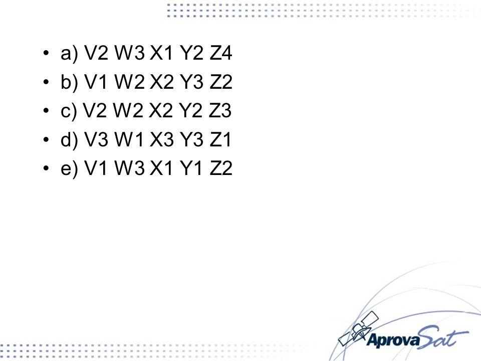 a) V2 W3 X1 Y2 Z4 b) V1 W2 X2 Y3 Z2 c) V2 W2 X2 Y2 Z3 d) V3 W1 X3 Y3 Z1 e) V1 W3 X1 Y1 Z2