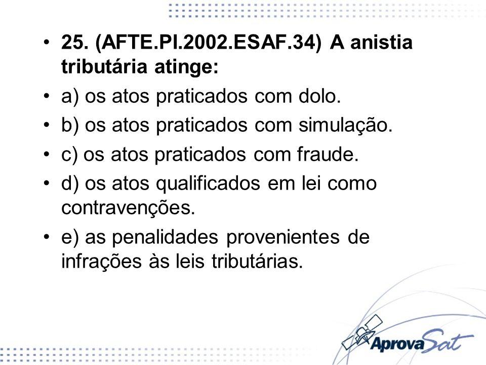 25. (AFTE.PI.2002.ESAF.34) A anistia tributária atinge: