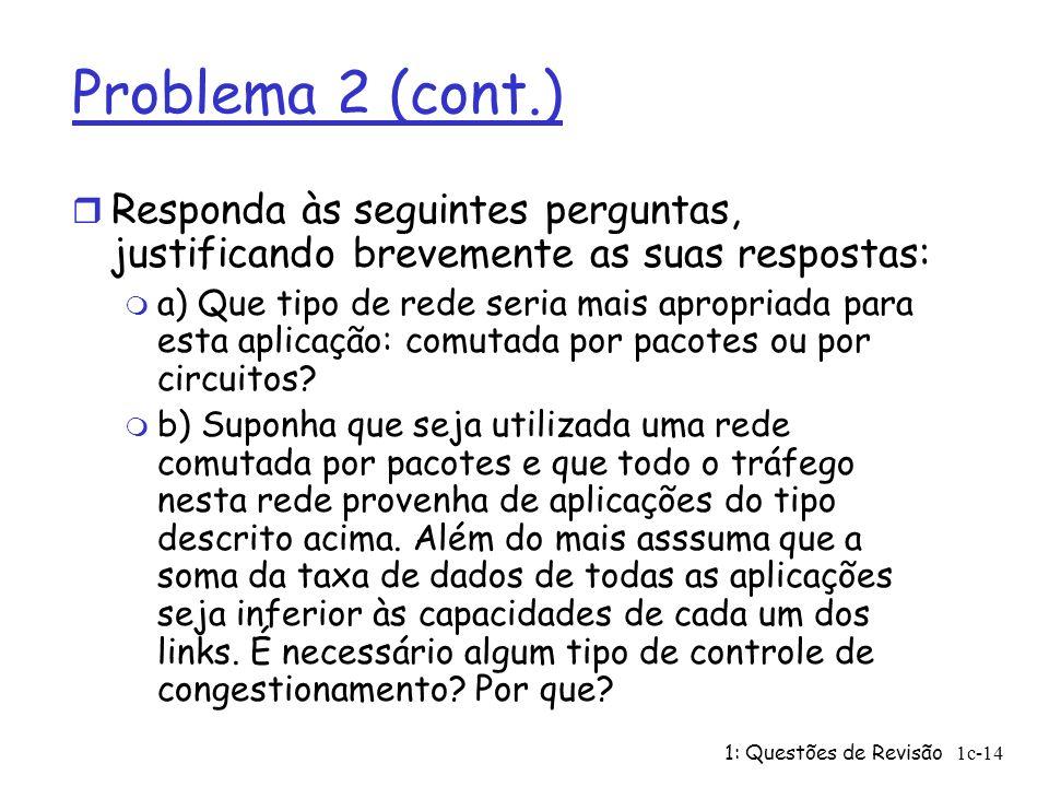 Problema 2 (cont.) Responda às seguintes perguntas, justificando brevemente as suas respostas: