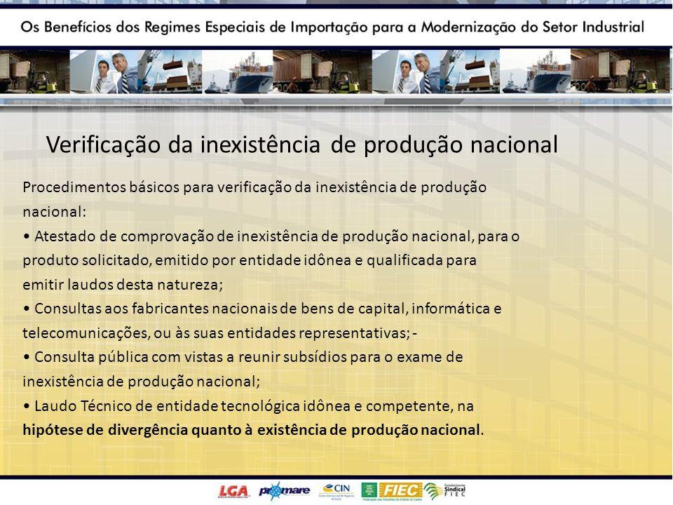 Verificação da inexistência de produção nacional