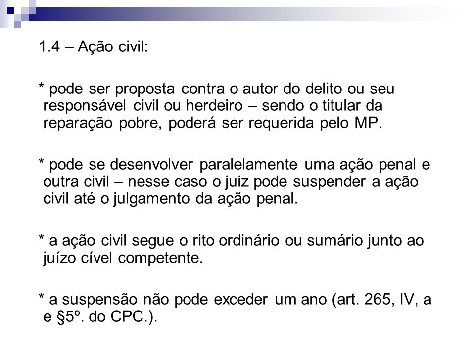 1.4 – Ação civil: