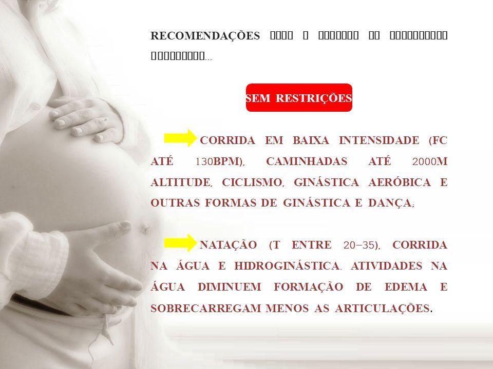 RECOMENDAÇÕES PARA A ESCOLHA DA MODALIDADE ESPORTIVA...
