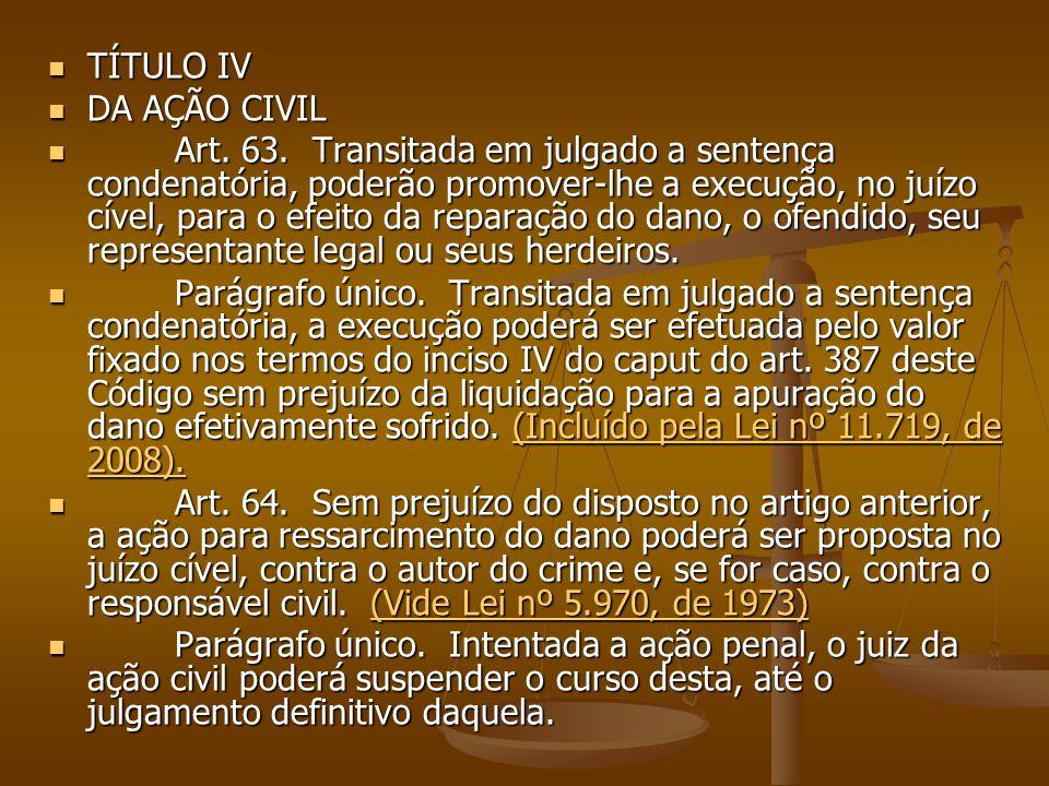 TÍTULO IV DA AÇÃO CIVIL.