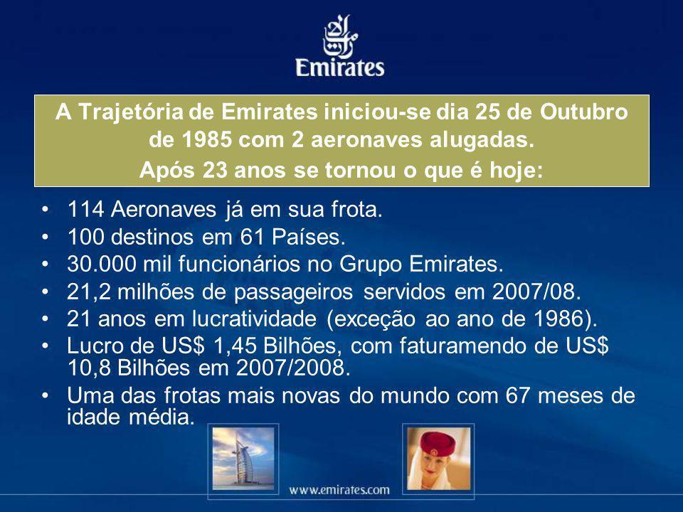 A Trajetória de Emirates iniciou-se dia 25 de Outubro de 1985 com 2 aeronaves alugadas. Após 23 anos se tornou o que é hoje: