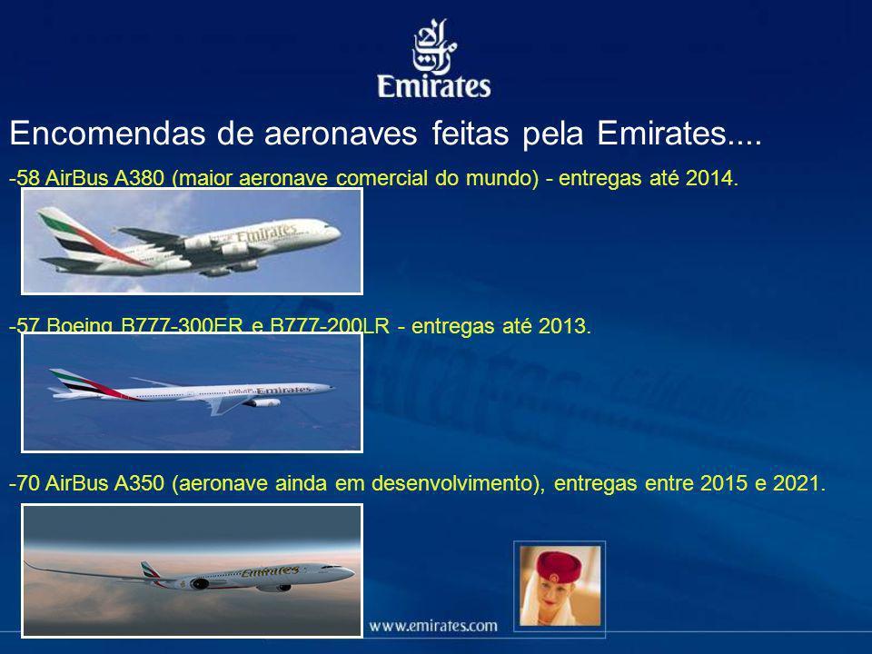 Encomendas de aeronaves feitas pela Emirates....
